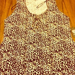 Vince Camuto Tops - Vince Camuto, sleeveless, animal print, tie neck.